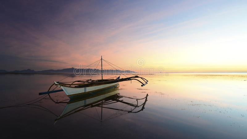 Boat on water at sunset stock image