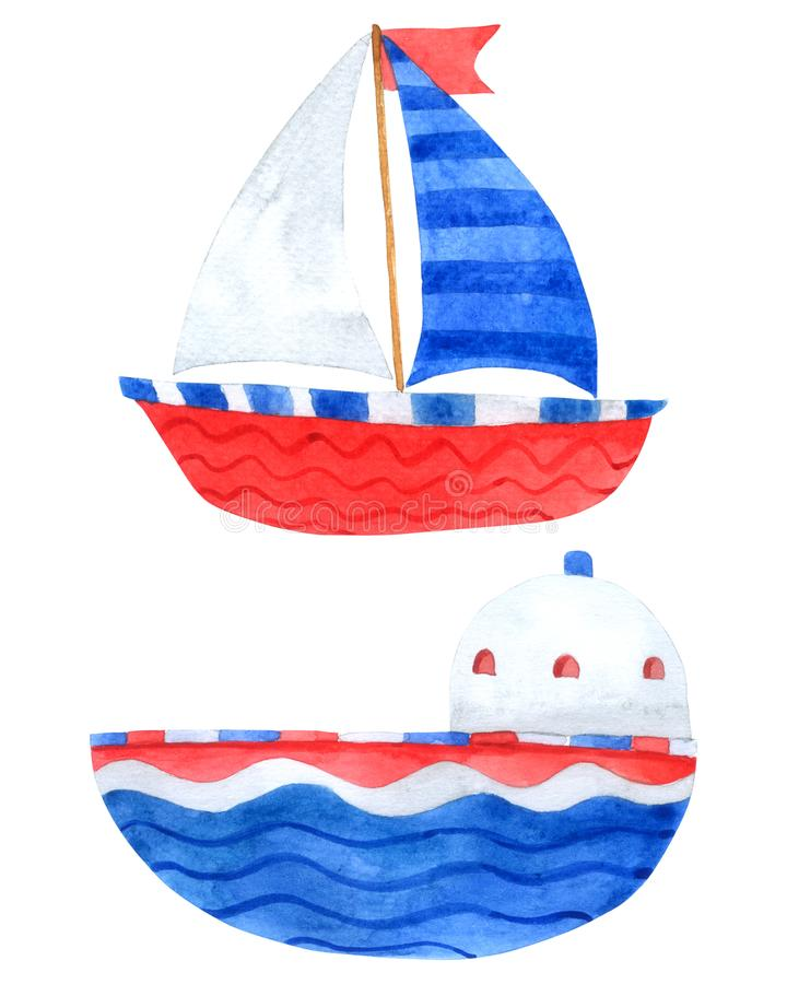 Free Boat Watercolor Collection On White Background , Ship Cartoon Hand Drawn For Kids, Greeting Card , Cases Design, Postcards, Stock Photos - 126488643