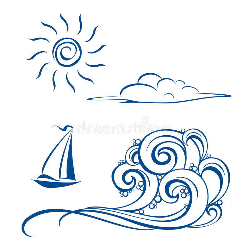 Download Boat waves, clouds and sun stock vector. Image of artistic - 18098250