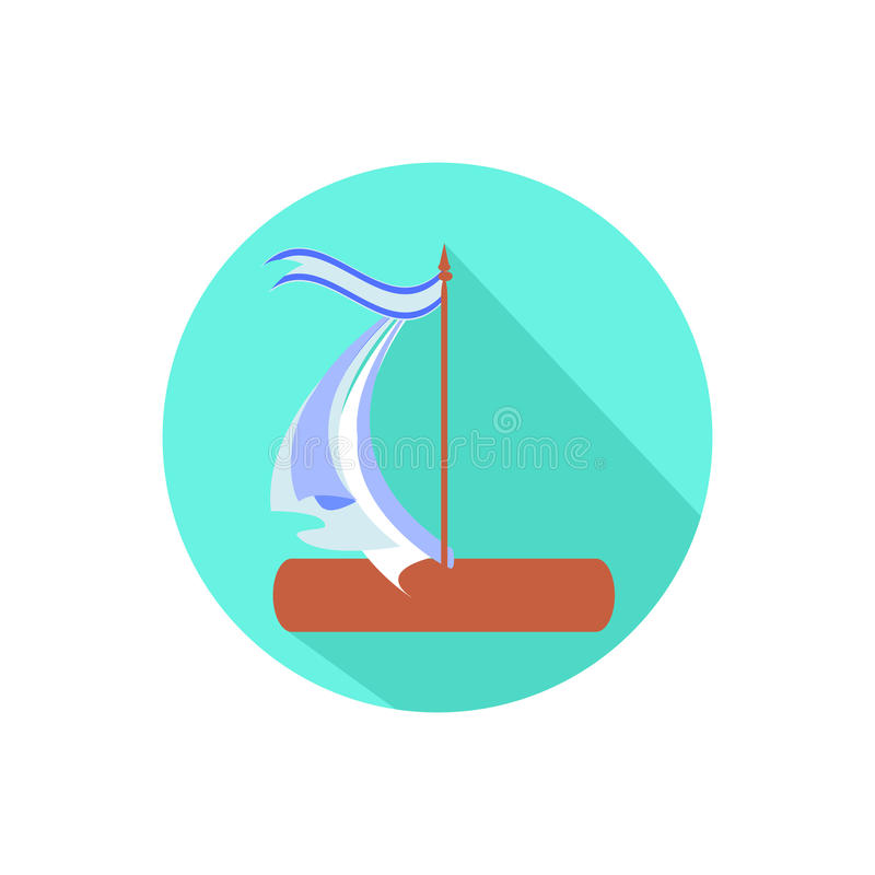 Boat. on a white background in a bright circle. Trendy flat style for graphic design, logos, website, social media, mobile applications stock illustration