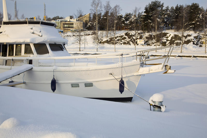 Boat in Winter royalty free stock photos
