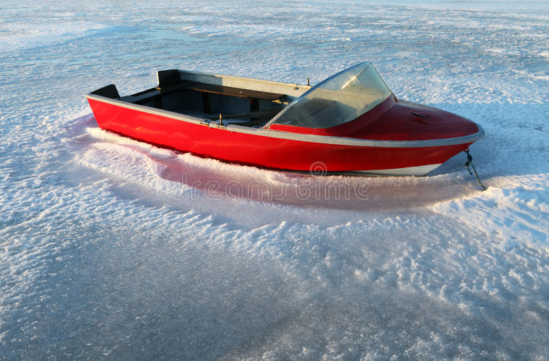 Boat winter frost ice stock photography