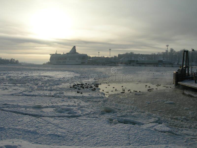 Boat in winter Helsinki. royalty free stock image