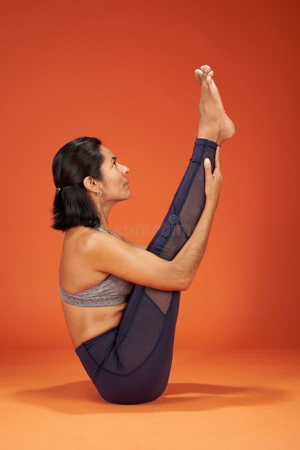 Boat yoga asana pose royalty free stock images