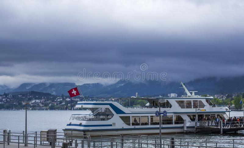Boat on the Zurich Lake. Pier stock photos