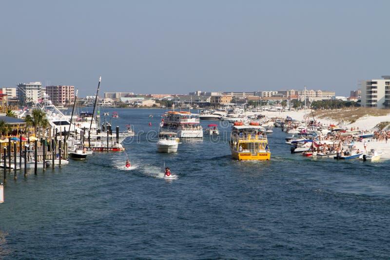 Boaters do porto de Destin fotografia de stock