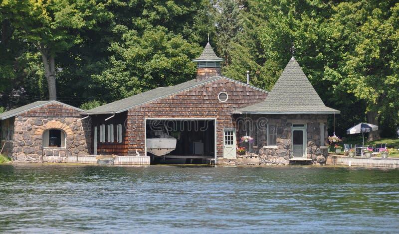 Boathouse στα χίλια νησιά Αμερική στοκ φωτογραφίες