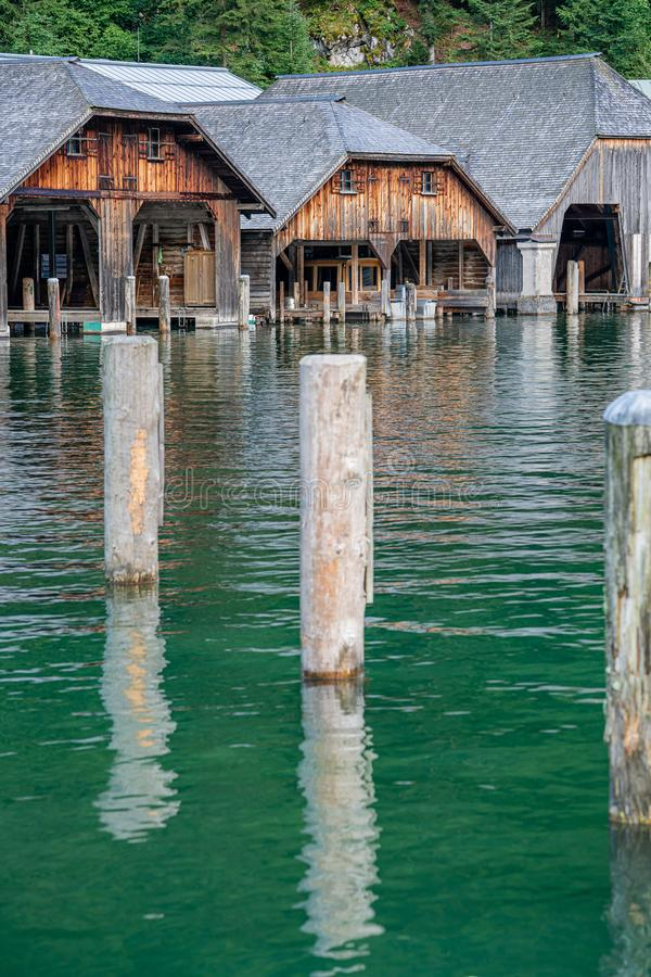 Boathouse on the Koenigsee lake in Bavaria Alps. Germany. Boathouse on the Koenigsee lake in Bavaria Alps stock photos