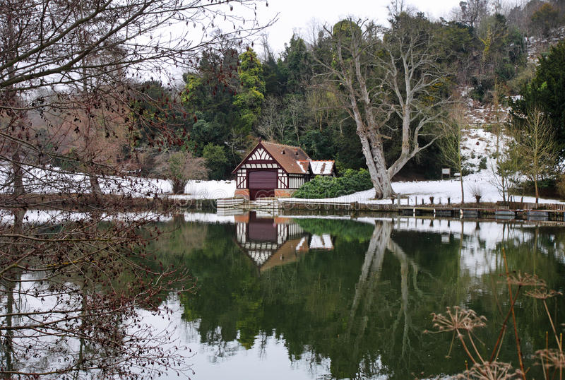 Boathouse on the River Thames in England in Winter royalty free stock photography