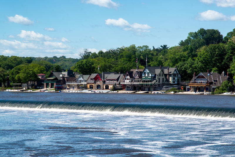 Boathouse Row. And the Schuylkill River near Fairmount Water Works and the Philadelphia Museum of Art royalty free stock images