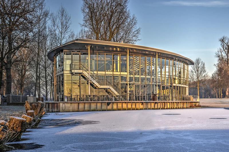 The Boathouse in winter stock photo