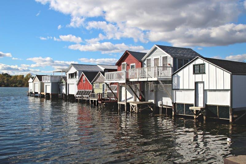 Boathouses auf Canandaigua See, New York stockbilder
