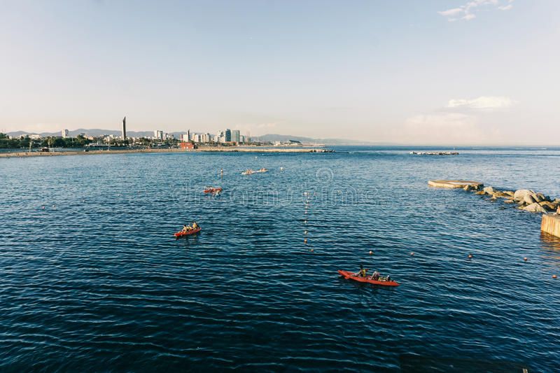 Boating in barcelona royalty free stock images