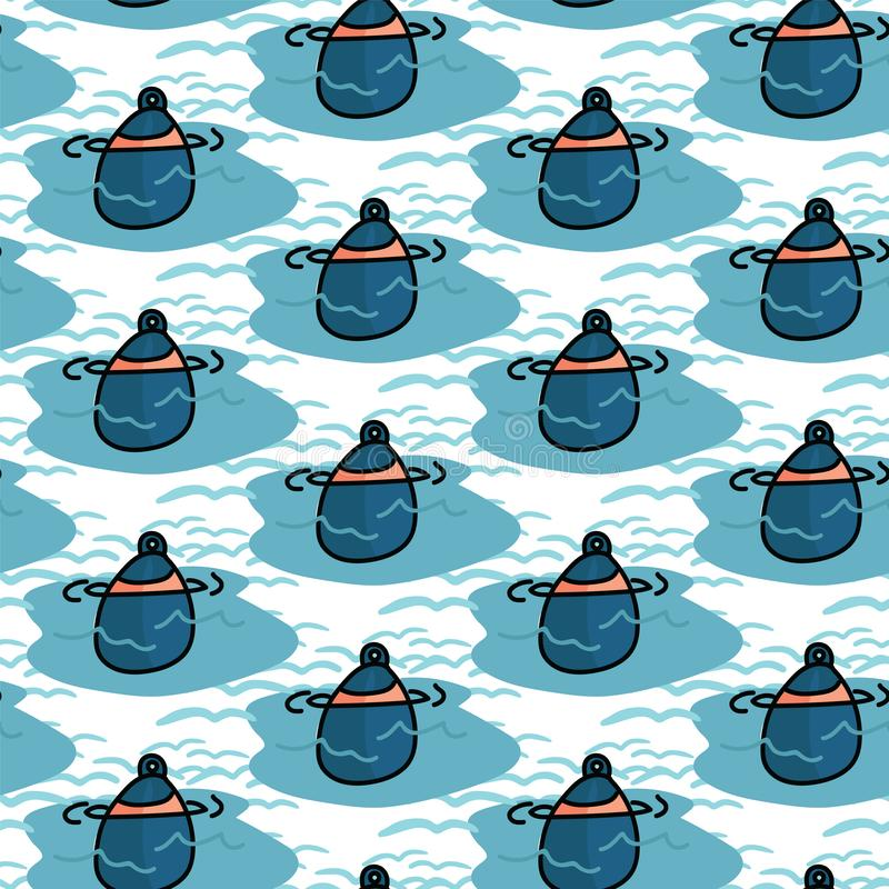 Cute boating buoy cartoon seamless vector pattern. Hand drawn sailing tile. All over print for marine equipment blog. Boating buoy cartoon seamless vector stock illustration