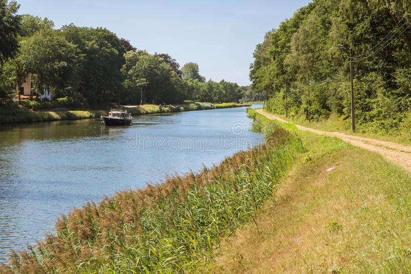 Boating on the canal Herentals-Bocholt. In Belgium royalty free stock photos