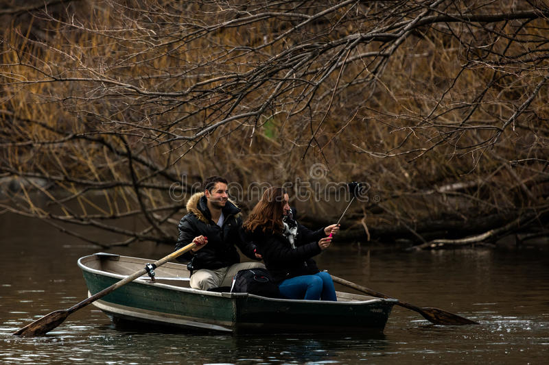 Boating on the Central Park Lake royalty free stock photos