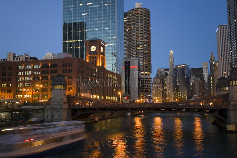 Boating Chicago River royalty free stock photos