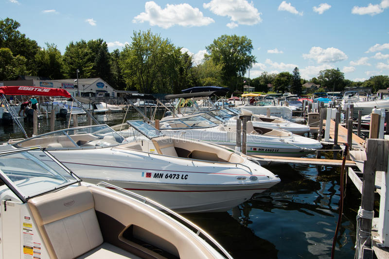 Boating Club on Lake Minnetonka, Minnesota. Boating clubs offer the use of new models of upscale boats without the hassle of owning, mooring, storing, or stock photos