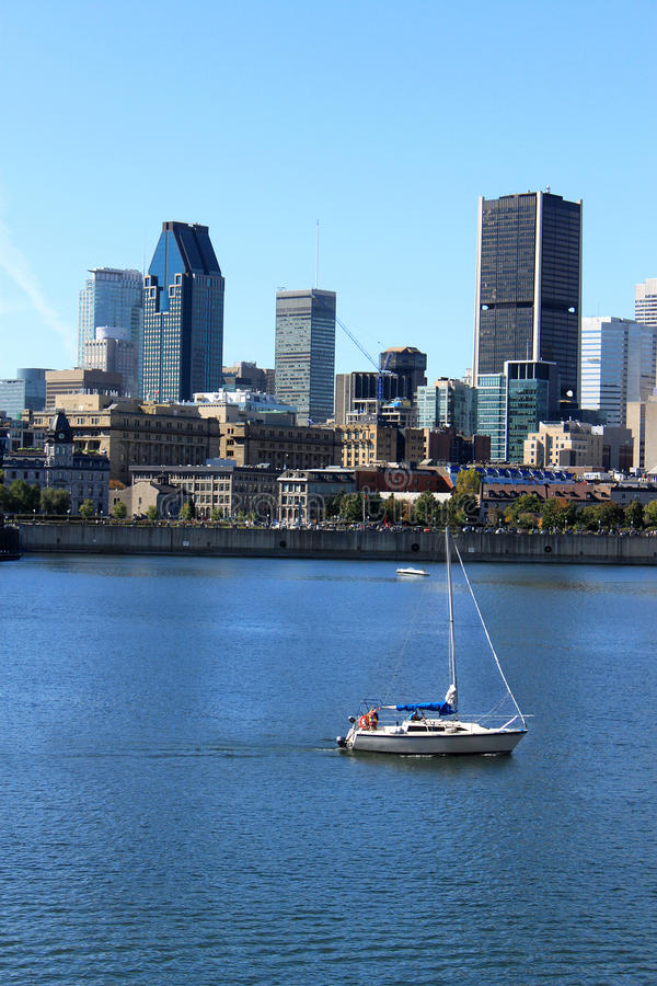 Boating downtown Montreal, Quebec, Canada stock photo