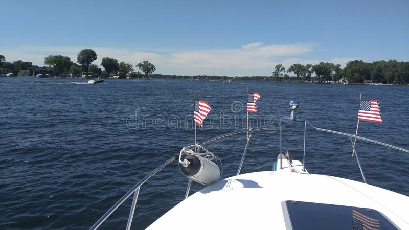 Boating on fourth of July royalty free stock images