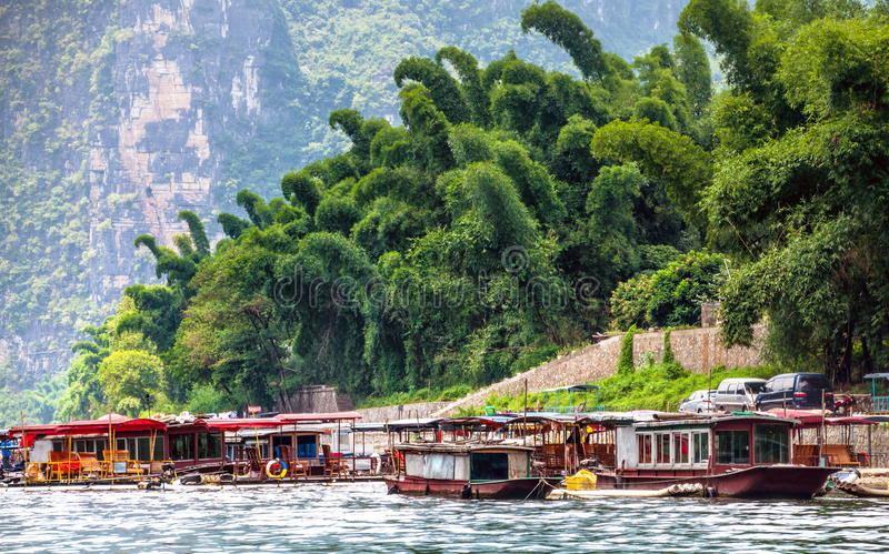 Boating in Guilin river royalty free stock photo