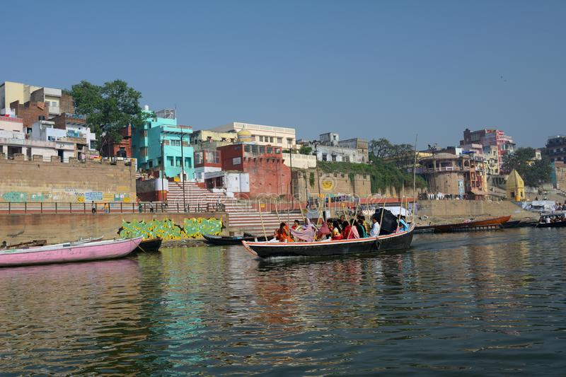 Boating in Holy River the Ganges in Varanasi, Uttar Prodesh, India. royalty free stock image