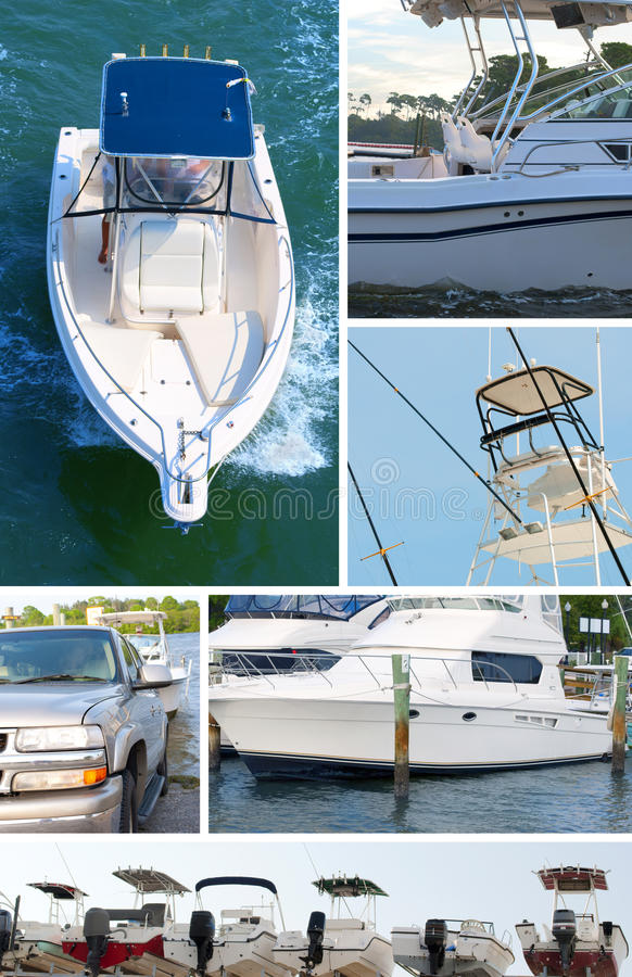 Boating montage. Covering many aspects of the boating experience royalty free stock photo