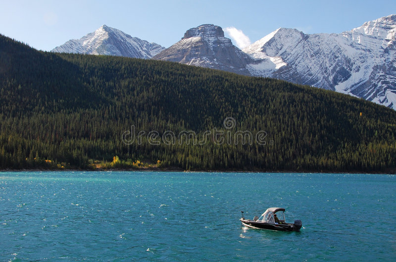 Boating among the moutains royalty free stock photography