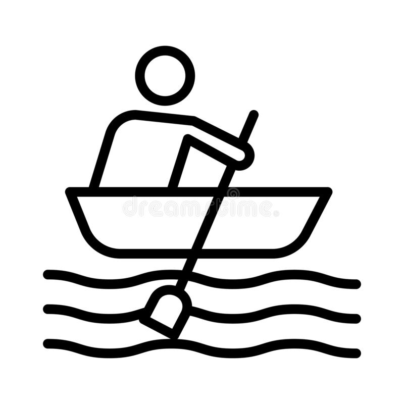 Boating thin line vector icon. Boating icon. Elements for mobile concept and web apps. Thin line icons for website design and development, app development royalty free illustration