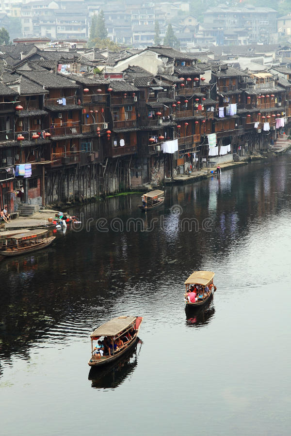 Boating on the Tuojiang River of the Fenghuang Ancient City. Hunan Province, Fenghuang Ancient City is located in the southwest, is a Tujia and Miao Autonomous stock images