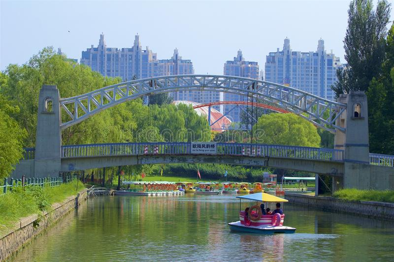 Chaoyang park, Beijing. Boating and views in Chaoyang park, Beijing, China royalty free stock photos