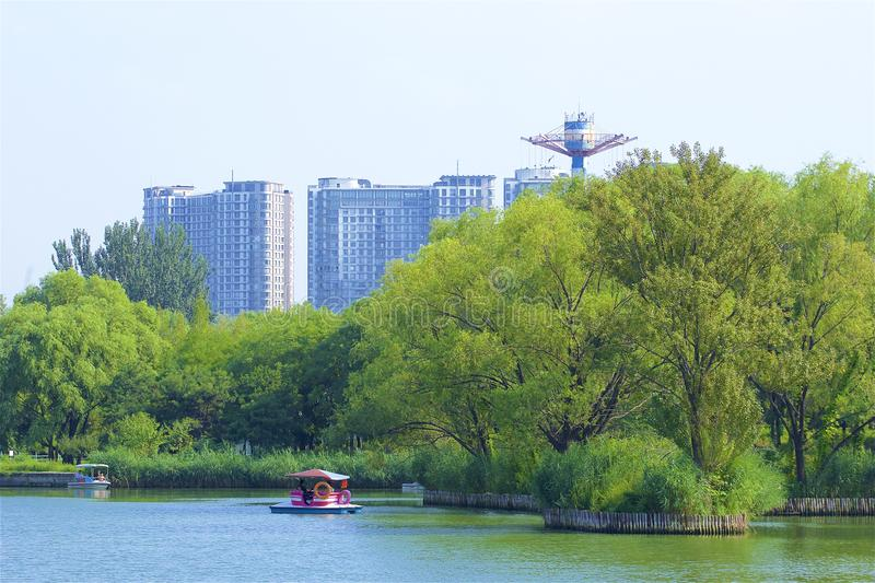 Chaoyang park, Beijing. Boating and views in Chaoyang park, Beijing, China stock photo