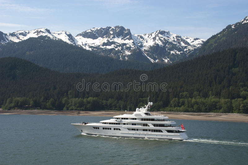 Boating Yacht Cruising in Alaska Inside Passage stock images