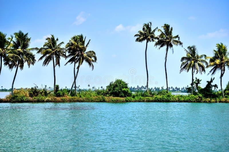 Boatman dient een rivier overgang het hart van landelijk Kerala royalty-vrije stock afbeeldingen
