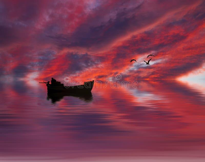 Boatman in het meer wordt gevangen dat stock foto