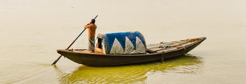Boatman in the River Ganga. India royalty free stock photos