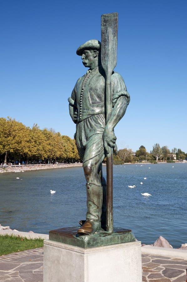Boatman sculpture at Lake Balaton,Hungary. (Balatonfüred royalty free stock images