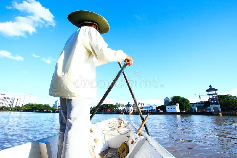Boatman van Kuching royalty-vrije stock afbeelding