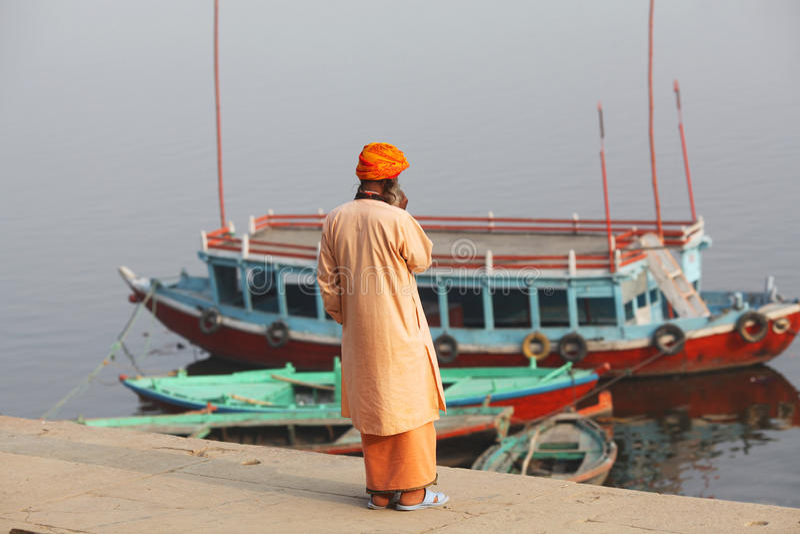 Boatman van Varanasi royalty-vrije stock afbeeldingen