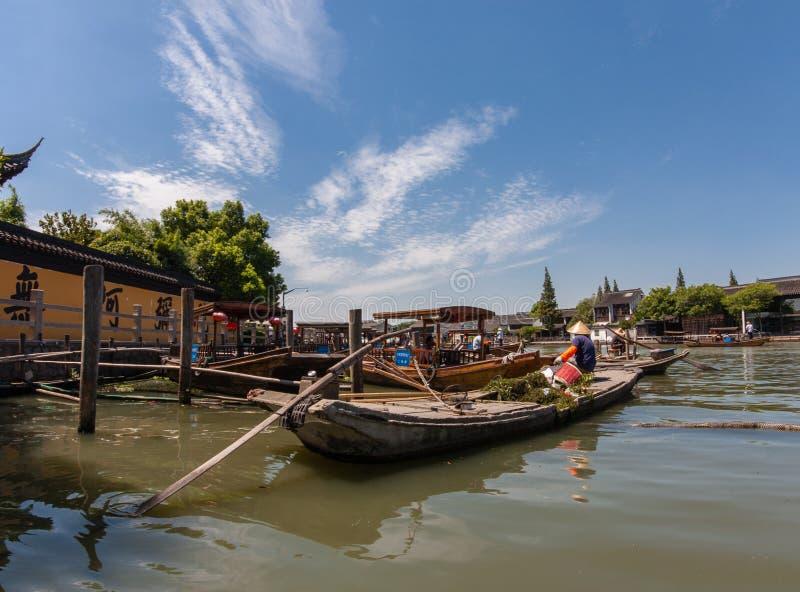 Boatman vervoerden onderwaterdiegras door boot van beton wordt gemaakt royalty-vrije stock afbeelding