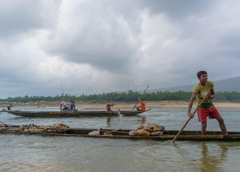 Boatmen in actie royalty-vrije stock fotografie