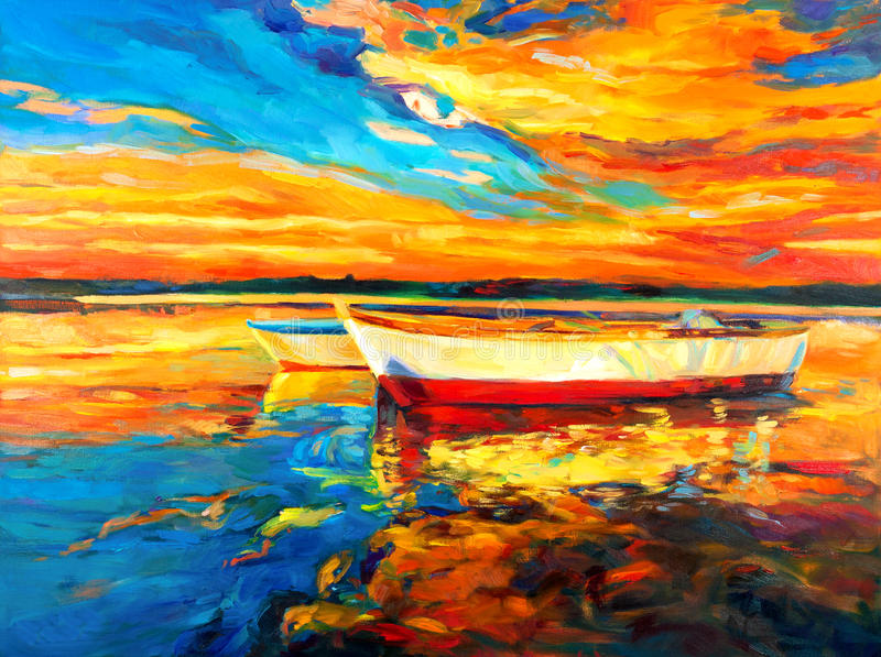 Boats. Original oil painting of boat and sea on canvas.Sunset over ocean.Modern Impressionism