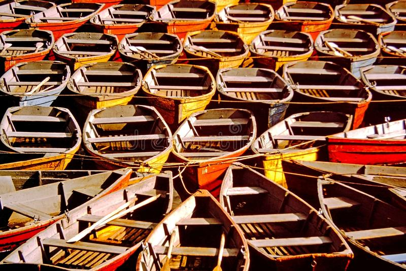 Boats. Rowboats tied waiting to be rented stock images