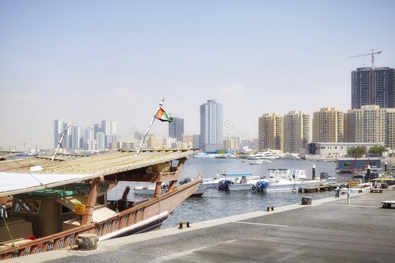 Boats at Ajman harbor, United Arab Emirates royalty free stock photography