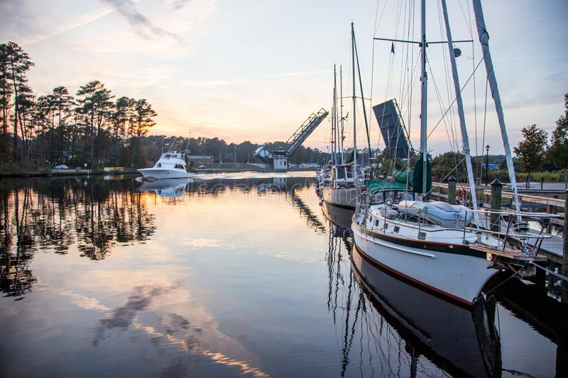Boats along the Intracoastal Waterway in Chesapeake, Viriginia royalty free stock images