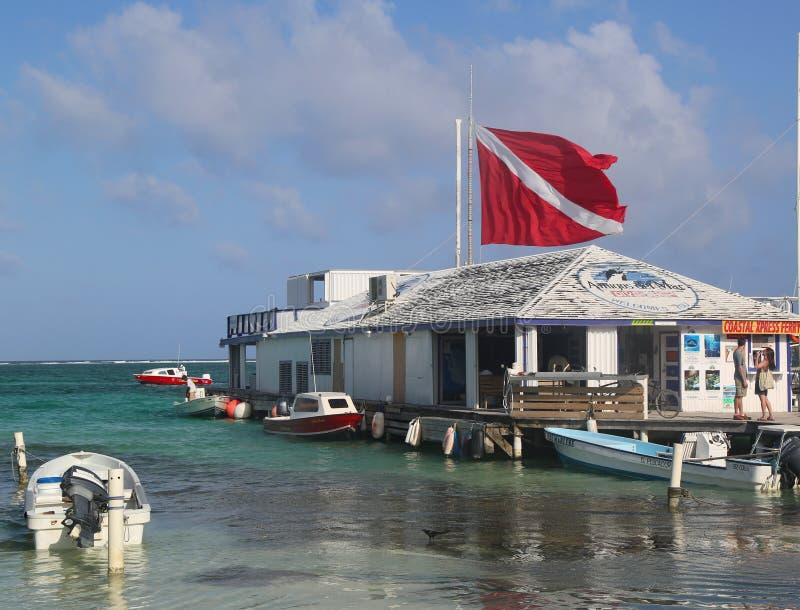 Boats at the Amigos del Mar Dock in San Pedro, Belize stock image