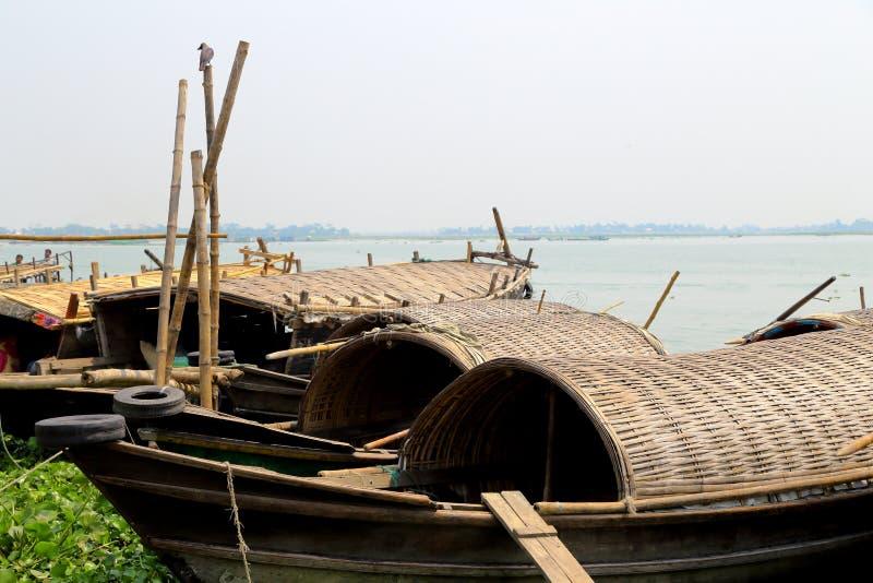 Boats ar riverside stock photos