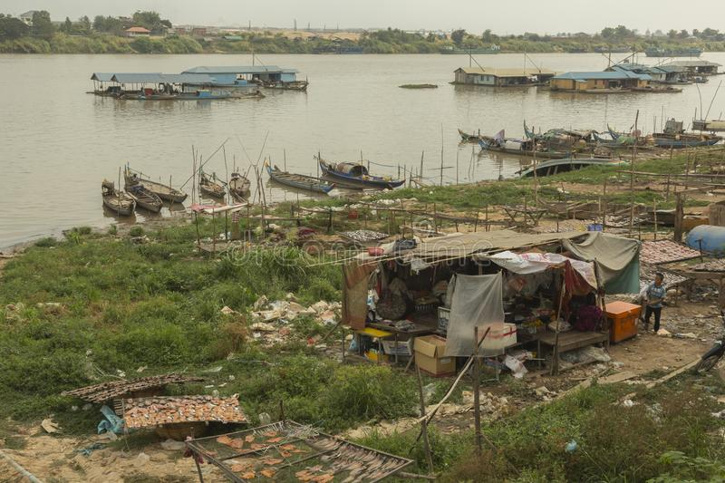 Boats at the bank of Mekong river stock photography