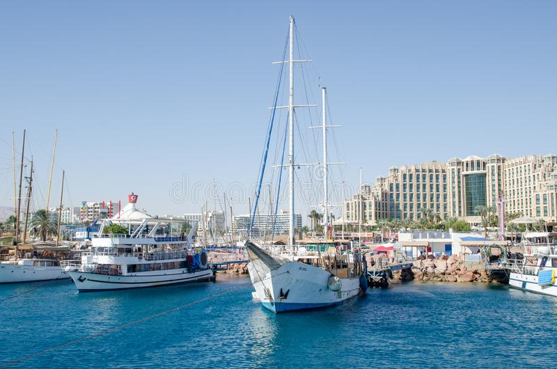 The boats in bay of Eilat. Israel stock photo