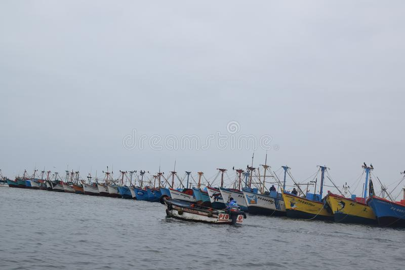 Boats in the bay going out to sea royalty free stock photos